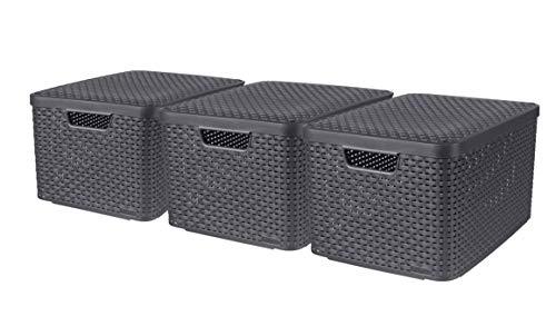 CURVER Lot de 3 Boîtes avec Couvercle - 3 Caisses (3*30L) en Plastique avec un Design Rotin Tressé pour Salle de Bain, Chambre, Bureau - Poignées Ergonomiques - Gris foncé