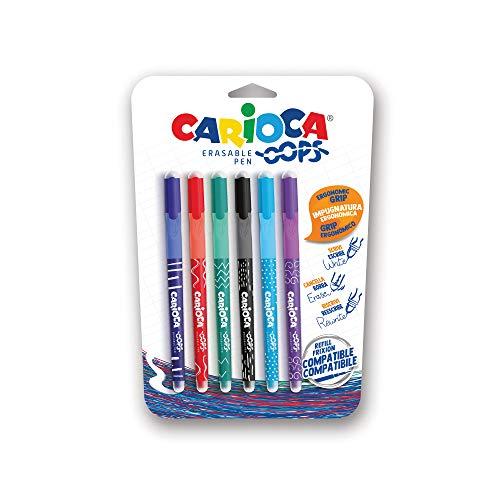43043//02 Set Bol/ígrafos Borrables Autom/áticos Azules Goma Incorporada CARIOCA OOPS RETRACTABLE 12 Unidades