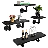 MANTE BLONG 24-Inch Industrial Pipe Floating Shelves Wall Mounted, Rustic Wood Wall Shelves Set of 4 for Bedroom, Bathroom, Living Room, Kitchen,Office and More … (Carbonized Black, 4 Shelves)