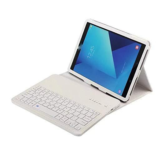Teclado con Panel táctil Bluetooth para Samsung Galaxy Tab S3 9.7 T820 T825 Funda Protectora de Cuero PU Funda con Soporte + Aluminio Desmontable-Set_Blanco