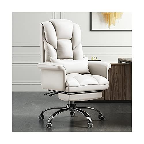 LWZ Executive Office Schreibtischstuhl mit versteckter Fußstütze, hochlehnender Computertischstuhl, höhenverstellbarer Ledermanagersessel