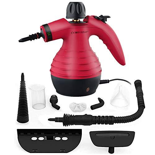Comforday Tragbarer Mehrzweck-Dampfreiniger mit 9 Zubehörteilen zur Fleckenentfernung, Teppichen, Vorhängen, Küchenoberflächen, Autositzen und mehr, Rot (EU Stecker)