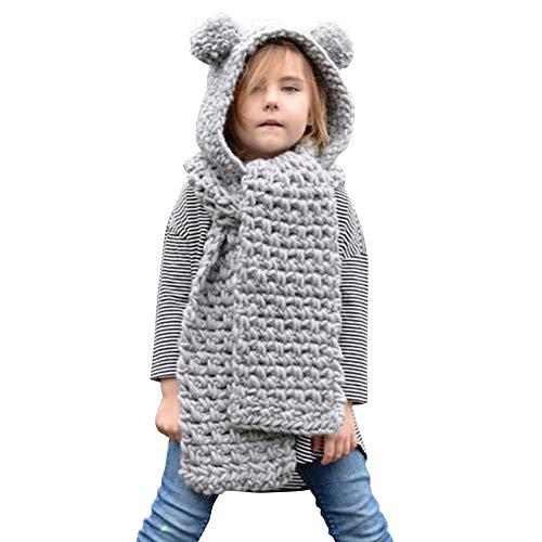Ssowun Enfant Bonnet avec Écharpe, Chapeau Hiver Automne Tricot Chapeau Chaud pour 3-8 Ans Garçons Filles
