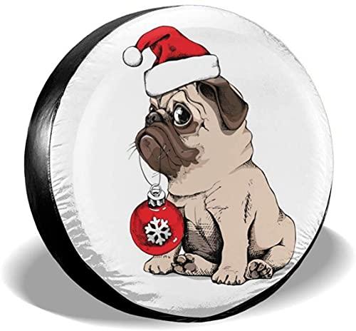 Christmas Pug - Cubierta de neumático de repuesto,poliéster,universal,de 15 pulgadas,para rueda de repuesto,para remolques,vehículos recreativos,SUV,ruedas de camiones,camiones,caravanas,accesorios p