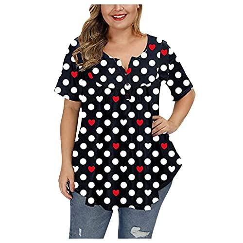 YWLINK Moda para Mujer Tallas Grandes SóLido Cuello Redondo Hombro Camiseta Manga Corta Casual Asequible Puntos Estampado Suelto con Botones Mujer Elegantes Largo XL-XXXXL (Negro, XL)