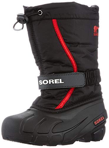 Sorel Unisex-Kinder-Winterstiefel, CHILDRENS FLURRY, Schwarz (Black, Bright Red), Größe: 25