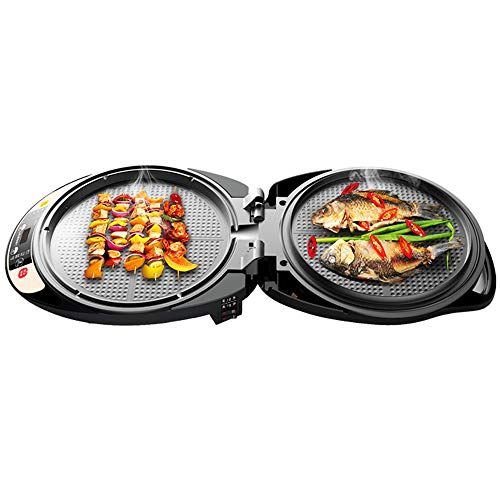 LIVEN Foldable Round Electric Griddle Nonstick Large Portable Electric Skillet Nonstick Electric Baking Pan 2 in 1