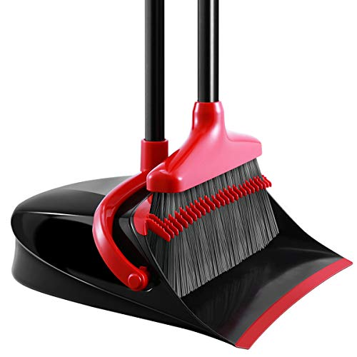 Homemaxs Broom and Dustpan Set, [Newest 2019] Long Handle Broom with Dustpan,...