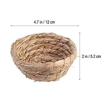 POPETPOP 5 Pièces Nid d'herbe Tissée Naturelle D'oiseau, Maison de Lit en Paille Faite à Main, Accessoires de Cage à Oiseaux pour Perruches, 11cm