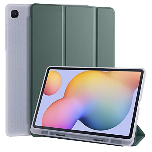 Dmtrab para Para Samsung Galaxy Tab S6 Lite P610 Case, 3 Plegables Horizontal Flip PU Cuero + Funda de Tapa TPU a Prueba de Golpes con Soporte y Ranura de lápiz (Negro) Manga (Color : Pine Green)
