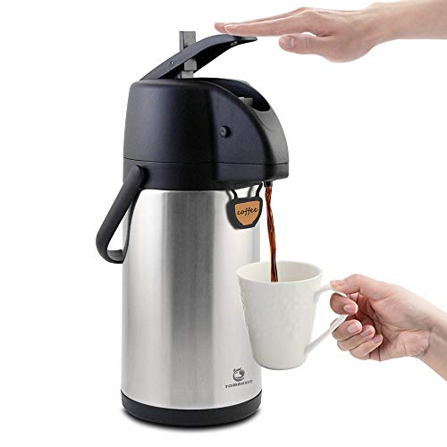 TOMAKEIT Airpot Coffee Carafe Thermal 2.2L(74 Oz) Insulated Stainless Steel Large Beverage Dispenser Lever Action For Hot/Cold Water