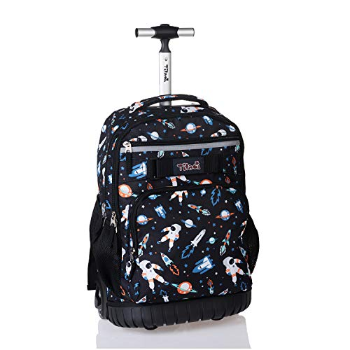 Tilami Rolling Backpack 18 inch Wheeled Laptop Backpack School College Student Travel Trip Boys and Girls, Astronaut
