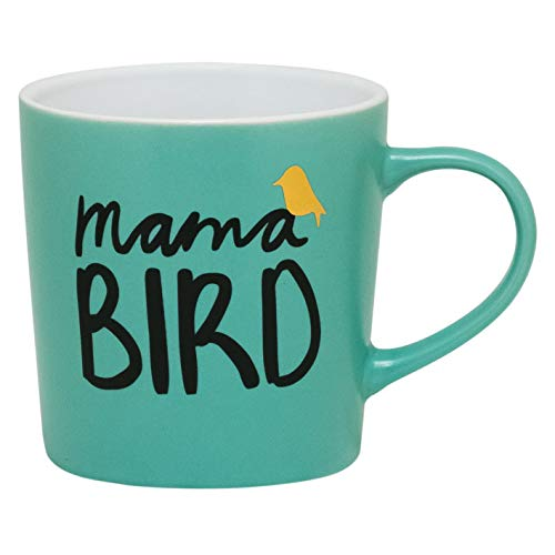 About Face Designs Mama Bird Teal Blue 18 Ounce Ceramic Stoneware Coffee Mug
