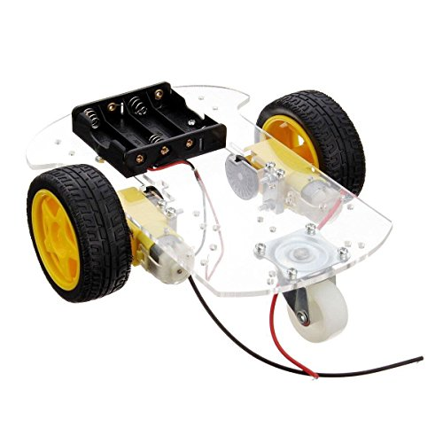 SODIAL Transparent Motor Smart Robot Car Chassis Kit Speed Encoder Battery Box for Arduino DIY