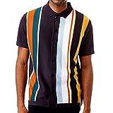 Men's Short Sleeve Knit Sports Shirt - Modern Polo Vintage Classics: Vertical Stripe Color Block (XXL, Navy)