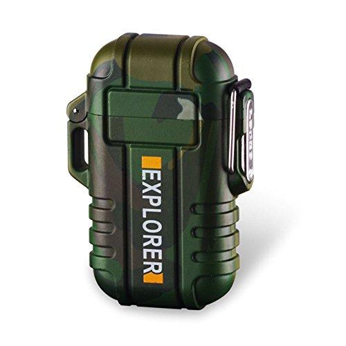 SANShine - Mechero electrónico de doble arco con batería de plasma recargable, resistente al viento, impermeable y portátil, ideal para cigarrillos o velas, camouflage