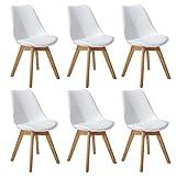 DORAFAIR Pack de 6 Retro sillas de Comedor Silla escandinava,Silla de Oficina con Las piernas de...