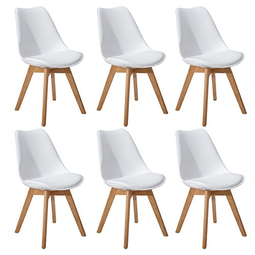 DORAFAIR Pack de 6 Retro sillas de Comedor Silla escandinava,Silla de Oficina con Las piernas de Madera de Roble Maciza