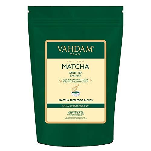 VAHDAM, Muestreador de Té Verde Matcha - 5 tés   Polvo de té Matcha de origen japonés puro 100%   137x Anti-OXIDANTES   Energía, enfoque y metabolismo Booster   Té verde para bajar de peso