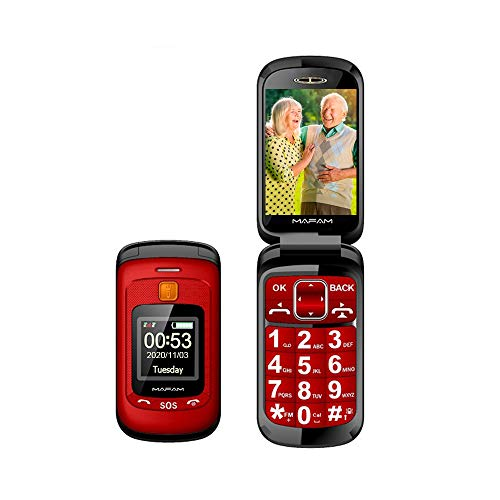 Teléfono Móvil para Personas Mayores Teclas Grandes con Tapa Flip Senior Fácil de Usar Celular para Ancianos con SOS Botones, Pantalla de 2,4+1.44 Pulgadas (Rojo)