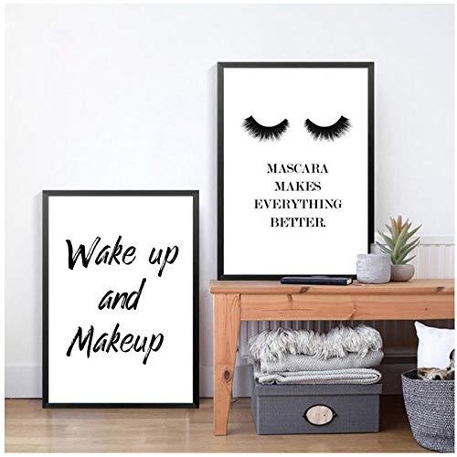 AdoDecor Wake Up and Makeup Lona Art Impresión Pintura Póster Lipstick Mascara Wall Picture Lienzo de pinturaImpresiones para Sala de Estar 40x60cmx2 Sin Marco