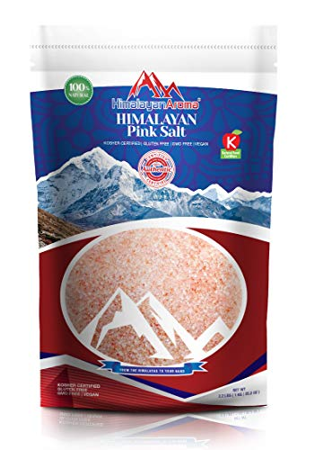 Gourmet Himalayan Pink Salt, 2.2 lbs, Fine Grain, Himalayan Sea Salt, Pink Himalayan Salt, Hymalain Pink Salt, Essential Minerals & Nutrients Dense, Kosher Certified, Resealable Bag, Packaged in USA