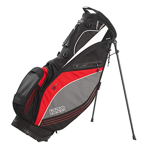 IZZO Golf Izzo Lite Stand Golf Bag - Black, Red, Green or Blue - Walking Golf Bag, Ultra Light Perfect for Carrying on The Golf Course, with Dual Straps for Easy to Carry Golf Bag., Black/Grey/Red