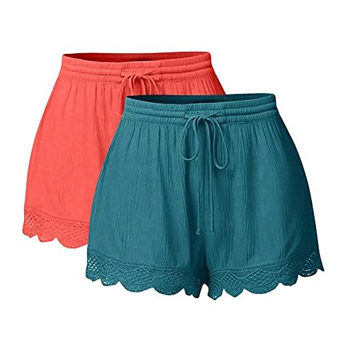 FOTBIMK Pantalones cortos de encaje para mujer, pantalones cortos de correr, talla grande, pantalones cortos de corbata, yoga y deporte, 2 unidades, hot pink, 5X-Large