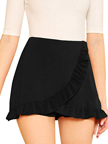 SheIn Women's Mid Waist Ruffle Wrap Skorts Asymmetrical Plain Skirt Shorts Medium Black