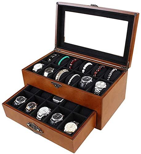 Caja de reloj/caja de almacenamiento de joyería de madera multifunción, 22 grandes capacidades, tapa de cristal y hermosa cerradura/envía el mejor regalo para las mujeres