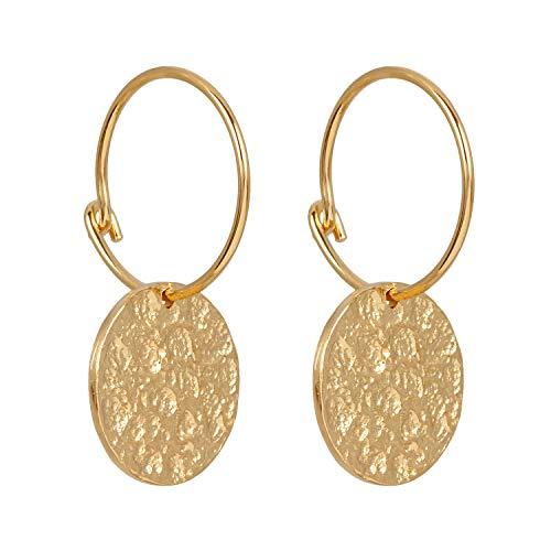 Pernille Corydon Creolen Gold Damen mit Anhänger - Ohrringe New Moon Earrings mit Plättchen Gehämmert Silber 925 Vergoldet - E415g