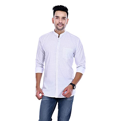 Blue Zed Polka Print Dotted Cotton Shirts for Men for Formal Wear,100% Cotton (Large) White