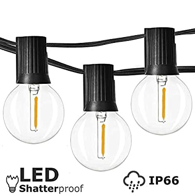 Newpow Outdoor String Lights 48ft with 23+2spares Dimmable Shatterproof Waterproof LED G40 Globe Bulbs - Clear Plastic, 1W 60LM 2200K Warm Glow for Indoor/Outdoor Decoration and Lighting - Black