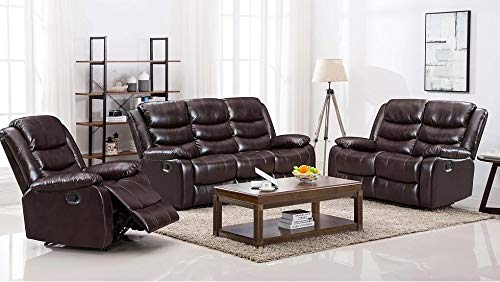 Hollywood Decor Hamar 3 Pieces Reclining Sofa Set in Brown PU Leather