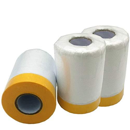 Abnaok Lot de 3 Rouleaux de Film Anti-Poussière et Imperméable Polyéthylène - Rouleau de 550 mm x 25 m - Pour Peinture, Décoration, Revêtement de Meubles
