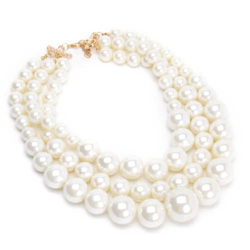 Jerollin Fashion Resin Big White Simulated Pearls Multi Strand 3 Layer Chunky Bib Evening Necklace