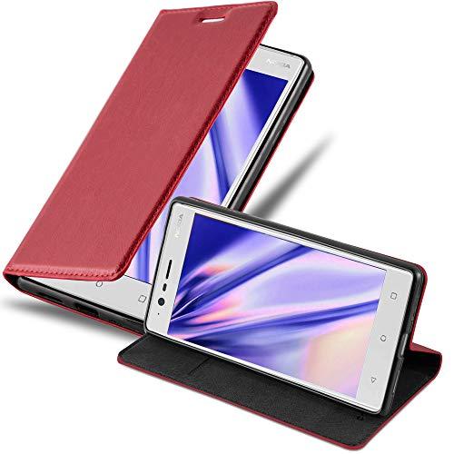 Cadorabo Hülle für Nokia 3-2017 - Hülle in Apfel ROT – Handyhülle mit Magnetverschluss, Standfunktion & Kartenfach - Hülle Cover Schutzhülle Etui Tasche Book Klapp Style