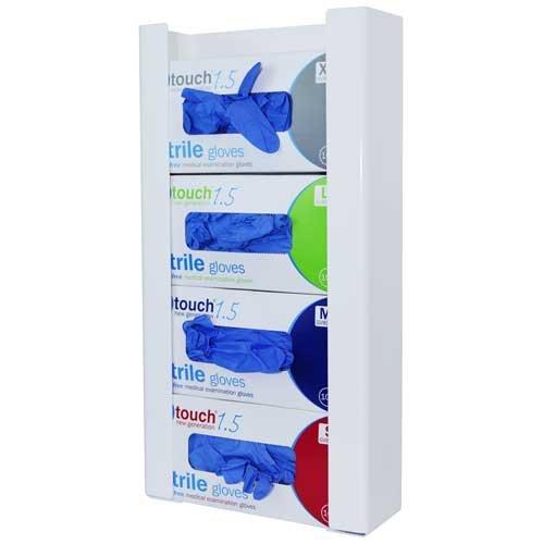 angloplas gd4-bio Quad Handschuh Box Spender, 27cm x 51,5cm x 10cm, Weiß