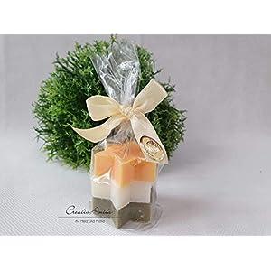 Weihnachtsseife – Seifensterne Midi – verpackt – 3 Stück -ORANGE-SCHNEEROSE-DATTEL- Florex Schafmilchseife…