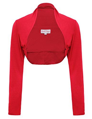 Belle Poque Casual Versatile Open Front Bolero Shrug for Women (Red,L)