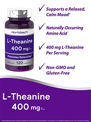 L Theanine 400mg | 120 Capsules | Non-GMO & Gluten Free | by Horbaach