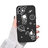 Newseego Funda Compatible con iPhone 11 Silicona Líquida, Astronauta Espacial de Moda y Diseño Pintado Lateral Carcasa TPU Gel Case Anti-Choque Protección Carcasa Bumper para iPhone 11-Negro