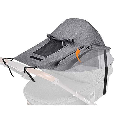Soapow Cochecito parasol cubierta transpirable ajustable anti-UV ayuda para el sueño del bebé con ventana de visualización Blackout Blind para cochecitos