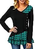 SLYZ Damas Europeas Y Americanas Otoño Manga Larga A Cuadros con Costuras Irregulares Camiseta con Cuello En V Más El Tamaño De La Camiseta Femenina