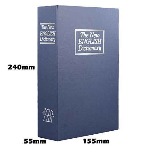 Champs Dictionary Diversion Book Safe with Key Lock for Home, Business [Blue, Metal, Medium Size, 9.44in x 2.16in x 6.10in]