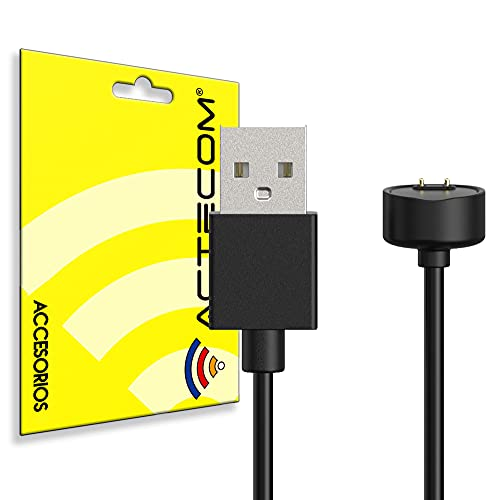 ACTECOM Cable de Carga Magnético Compatible con Xiaomi Mi SmartBand 5 6 Negro Imán Imantado Portátil Recambio Repuesto
