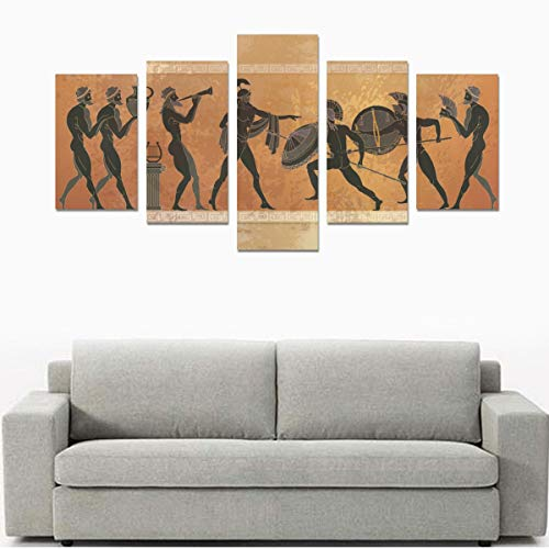 Black Pottery Ancient Greek Mythology Canvas Print Sets Wall Art Picture 5 Pieces Paintings Posters Prints Photo Image On Canvas Ready To Hang For Living Room Bedroom Home Office Wall Decor (no Fram