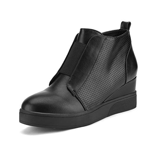 DREAM PAIRS Women's Platform Wedge Sneakers Ankle BootiesAll Black Size 7 M Us Wedge-Snkr-1