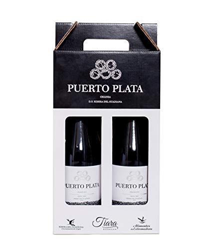 Estuche Regalo Vino 2 botellas Puerto Plata Tinto Crianza D.O. Ribera del Guadiana