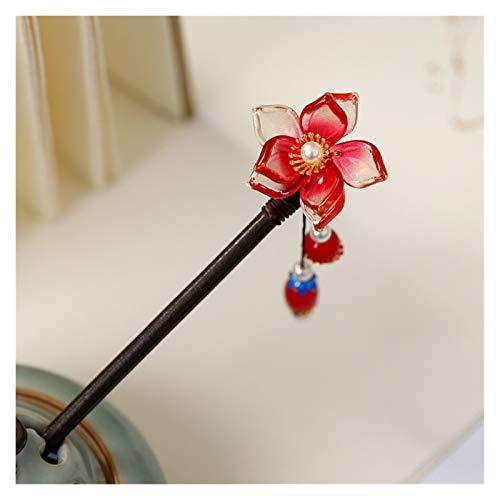 Zxebhsm Épingle à Cheveux Fleur rétro Perles simulées Tassels Pendentif Chinois Chinois Coupes de Poils Sticks Fourches à Cheveux en Bois pour Robe Hanfu (Metallfarbe : As Show)